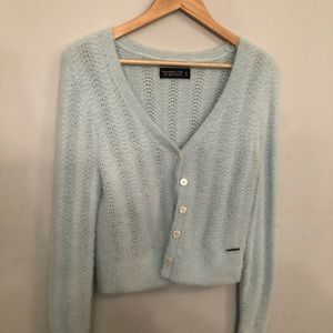 cropped, soft, baby blue sweater
